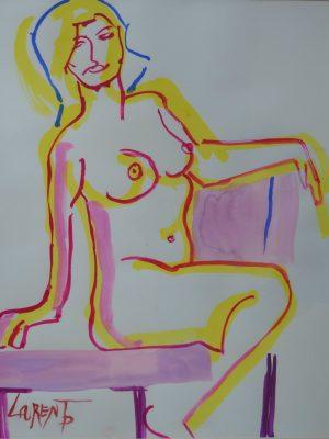 Laurent-Pascal-artiste-peintre-19xx nu gouache