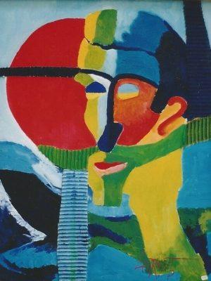 Laurent-Pascal-artiste-peintre-2000 V Autoportrait à la sirène 2000